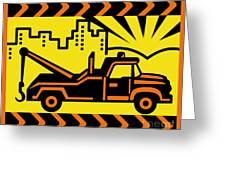 Retro Tow Truck Greeting Card by Aloysius Patrimonio