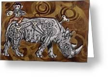 Rhino Mechanics Greeting Card by Tai Taeoalii