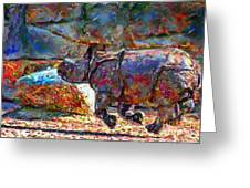 Rhino On The Run Greeting Card by Marilyn Sholin