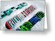 Ride In Powder Snowboard Graphics In The Snow Greeting Card by Andy Smy