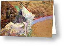 Rider On A White Horse Greeting Card by Henri de Toulouse Lautrec