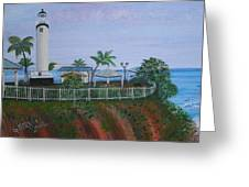 Rincon's Lighthouse Greeting Card by Gloria E Barreto-Rodriguez