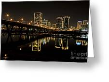 River City Lights At Night Greeting Card by Tim Wilson
