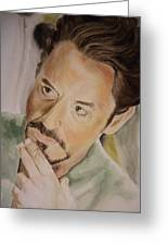 Robert Downey Jr Iron Man Greeting Card by Angela Schwengler