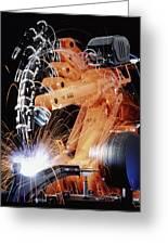 Robot Arm Spot-welding A Car Suspension Unit Greeting Card by David Parker
