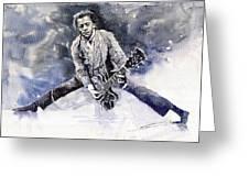 Rock And Roll Music Chuk Berry Greeting Card by Yuriy  Shevchuk