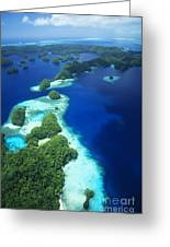 Rock Islands Aerial Greeting Card by Allan Seiden - Printscapes