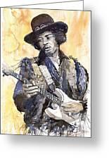 Rock Jimi Hendrix 01 Greeting Card by Yuriy  Shevchuk