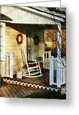 Rocking Chair On Side Porch Greeting Card by Susan Savad