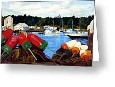 Rockland Harbor Greeting Card by Laura Tasheiko