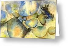 Rocks And Feather Greeting Card by Marlene Gremillion