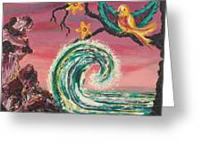 Rocks Wave And Bird Greeting Card by Suzanne  Marie Leclair