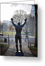 Rocky Statue From The Back Greeting Card by Bill Cannon