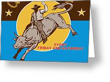 rodeo cowboy bull riding poster Greeting Card by Aloysius Patrimonio