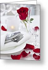 Romantic Dinner Setting With Rose Petals Greeting Card by Elena Elisseeva