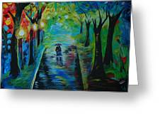 Romantic Stroll Greeting Card by Leslie Allen