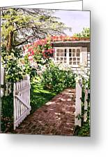 Rose Cottage Gate Greeting Card by David Lloyd Glover
