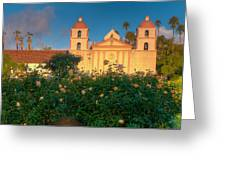 Rose Garden At Santa Barbara Mission Greeting Card by Connie Cooper-Edwards