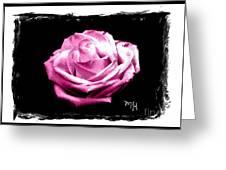 Rose On Black Greeting Card by Marsha Heiken