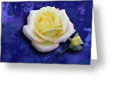 Rose On Blue Greeting Card by Morgan Rex