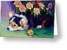 Roses - Pembroke Welsh Corgi Greeting Card by Lyn Cook