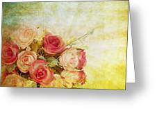 Roses Pattern Retro Design Greeting Card by Setsiri Silapasuwanchai