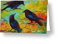 Roundtable Discussion - Crows Greeting Card by Marion Rose