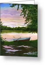Row Boat Painting Greeting Card by Judy Filarecki