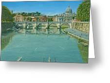 Rowing On The Tiber Rome Greeting Card by Richard Harpum