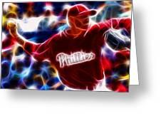 Roy Halladay Magic Baseball Greeting Card by Paul Van Scott