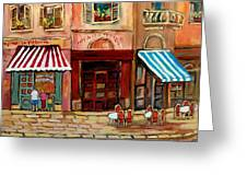 Rue St Paul Montreal Greeting Card by Carole Spandau