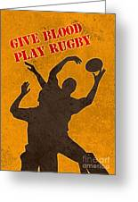 Rugby Player Jumping Catching Ball In Lineout Greeting Card by Aloysius Patrimonio
