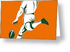 Rugby Player Kicking Greeting Card by Aloysius Patrimonio