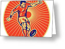 Rugby Player Kicking Ball Woodcut Greeting Card by Aloysius Patrimonio