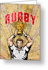 Rugby Player Raising Championship World Cup Trophy Greeting Card by Aloysius Patrimonio