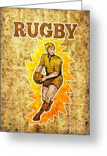 Rugby Player Running Passing Ball Greeting Card by Aloysius Patrimonio