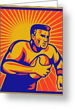 Rugby Player Running With Ball Greeting Card by Aloysius Patrimonio