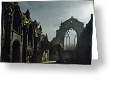 Ruins of Holyrood Chapel Greeting Card by Louis Jacques Mande Daguerre