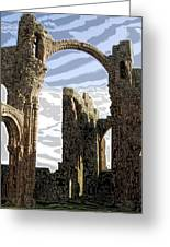 Ruins On The Holy Island Greeting Card by Carl Purcell