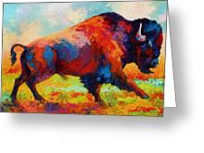 Running Free - Bison Greeting Card by Marion Rose