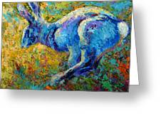 Running Hare Greeting Card by Marion Rose