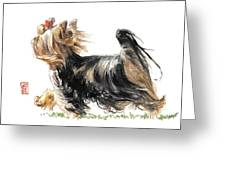 Running Yorkie Greeting Card by Debra Jones