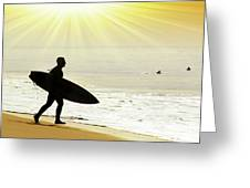 Rushing Surfer Greeting Card by Carlos Caetano