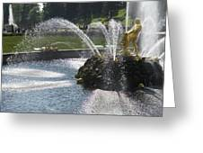 Russia, Samson Fountain At Peterhof Greeting Card by Keenpress