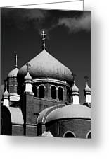 Russian Orthodox Church Bw Greeting Card by Karol  Livote
