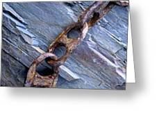 Rusty Chain On The Rocks Greeting Card by Tom  Wray