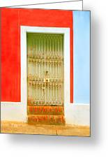 Rusty Iron Door Greeting Card by Perry Webster