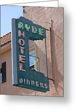 Ryde Hotel Sign Greeting Card by Troy Montemayor