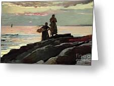 Saco Bay Greeting Card by Winslow Homer