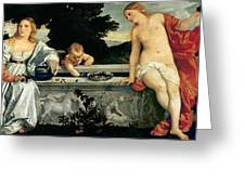 Sacred And Profane Love Greeting Card by Titian